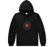 Distressed Printed Loopback Cotton-blend Jersey Hoodie - Black