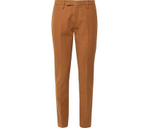 Tapered Stretch-cotton Ottoman Trousers - Tan