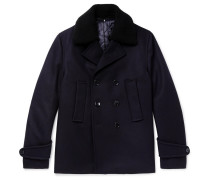 Faux Shearling-trimmed Double-breasted Melton Wool-blend Peacoat