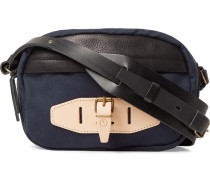 Leather-trimmed Canvas Bag - Midnight blue