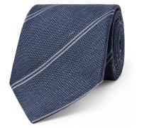 8cm Striped Silk And Linen-blend Tie - Navy