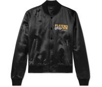 Leather-Appliquéd Satin Bomber Jacket