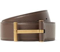 4cm Brown Full-grain Leather Belt - Brown