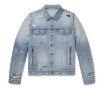 Logo-embroidered Distressed Denim Jacket - Light blue