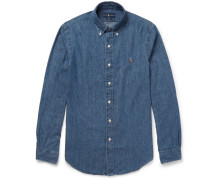 Slim-fit Button-down Collar Washed-denim Shirt - Mid denim