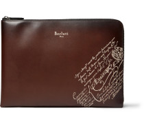 Scritto Leather Zip-around Pouch - Brown