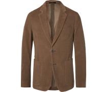 Olive Slim-fit Cotton-corduroy Suit Jacket - Brown