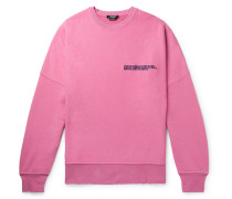 Oversized Distressed Logo-embroidered Loopback Cotton-jersey Sweatshirt - Pink