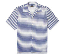 Camp-collar Striped Cotton-blend Twill Shirt - Blue