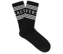 Logo-jacquard Ribbed Stretch Cotton-blend Socks - Black