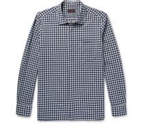 Slim-fit Gingham Stretch Cotton-blend Seersucker Shirt