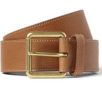 3.5cm Brown Full-grain Leather Belt - Brown