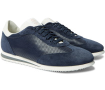 Suede-Trimmed Leather and Mesh Sneakers