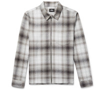 Checked Cotton-flannel Zip-up Overshirt
