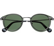 Round-frame Gunmetal-tone Sunglasses - Gray
