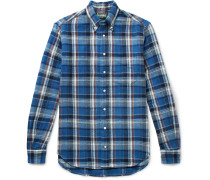 Button-down Collar Checked Cotton-twill Shirt - Blue