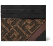 Logo-Print Coated-Canvas and Leather Cardholder