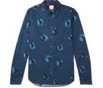 Slim-fit Printed Cotton Shirt - Navy