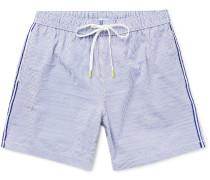 Slim-Fit Mid-Length Striped Seersucker Swim Shorts