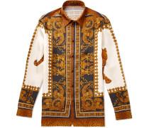 Printed Silk-twill Shirt - Brown