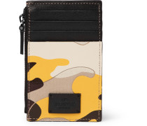 Valentino Garavani Camouflage-print Leather And Canvas Zipped Cardholder - Yellow