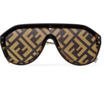 Aviator-Style Rubber-Trimmed Gold-Tone Logo-Print Sunglasses