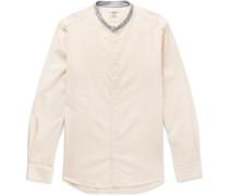 Slim-fit Stripe-trimmed Grandad-collar Cotton Shirt