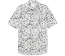 Printed Cotton-poplin Shirt - Blue
