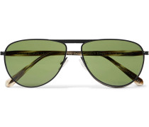 + Oliver Peoples Conduit St Aviator-style Gunmetal-tone And Acetate Sunglasses