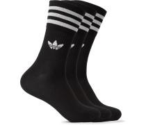Three-Pack Striped Logo-Intarsia Stretch Cotton-Blend Socks