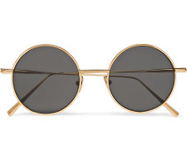Scientist Round-frame Gold-tone Sunglasses