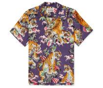 + Tim Lehi Camp-Collar Printed Gauze Shirt