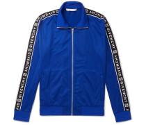 Logo-jacquard Fleece-back Tech-jersey Track Jacket - Blue