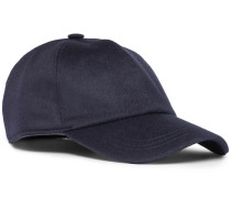 Embroidered Cashmere Baseball Cap - Navy