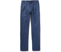 Tapered Pleated Linen Drawstring Trousers - Blue