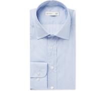 Blue Slim-fit Puppytooth Cotton-poplin Shirt