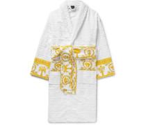 Satin-trimmed Logo-jacquard Cotton-terry Robe - White
