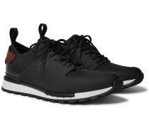 Run Track Leather and Neoprene Sneakers