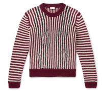 Slim-fit Striped Wool-blend Sweater - Red