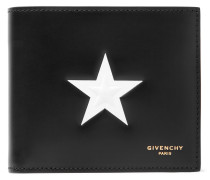 Star-embossed Leather Billfold Wallet - Black