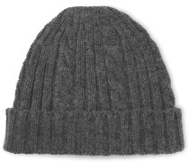 Fisherman Cable-knit Merino Wool And Organic Cotton-blend Beanie - Charcoal