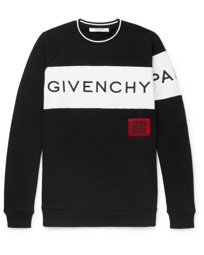 Logo-embroidered Fleece-back Cotton-jersey Sweatshirt - Black