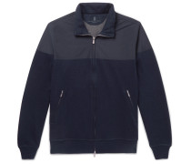 Shell And Cotton-blend Jersey Zip-up Sweatshirt