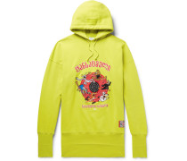Oversized Embroidered Fleece-back Stretch-cotton Jersey Hoodie - Chartreuse