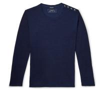 Button-detailed Cotton T-shirt