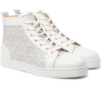 Louis Smooth and Logo-Print Patent-Leather High-Top Sneakers