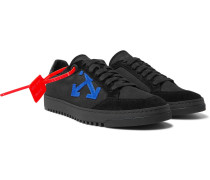 2.0 Suede-trimmed Canvas Sneakers - Black