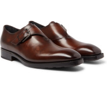Leather Monk-strap Shoes - Brown