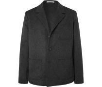 Dark-Grey Unstructured Mélange Wool and Cashmere-Blend Blazer