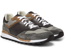 Run Track Leather, Suede And Mesh Sneakers - Gray